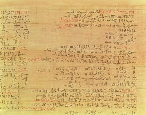 Detail of the Rhind Mathematical Papyrus, Hyksos period, 15th Dynasty, c.1550 BC