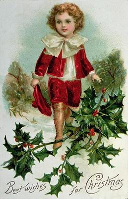 Victorian Christmas postcard depicting a boy in red in the snow