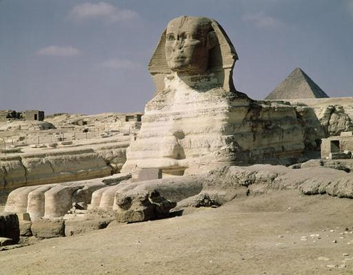 View from the north east of the Sphinx, dating from the reign of King Chephren, Old Kingdom, 2600-2500 BC
