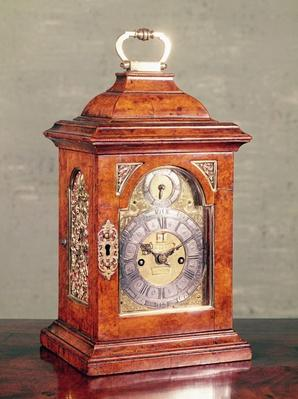 Table clock, walnut veneer case with silver-gilt mounts, by David Hubert