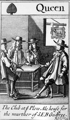 The Queen of Spades, from a pack of Cards relating to the 1678 Popish Plot and the murder of Sir Edmundbury Godfrey, 1679