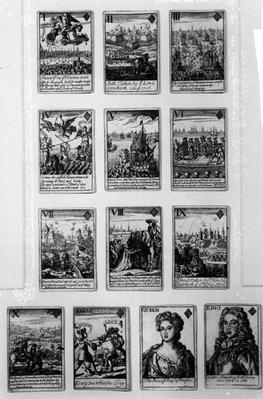 Playing cards with characters and scenes from the early 18th century
