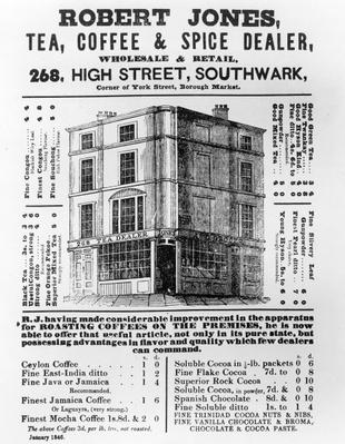 Advertisement for Robert Jones, Tea, Coffee and Spice Dealer, January 1845