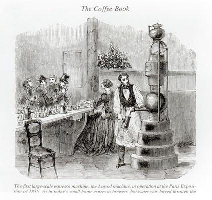 The first large-scale espresso machine