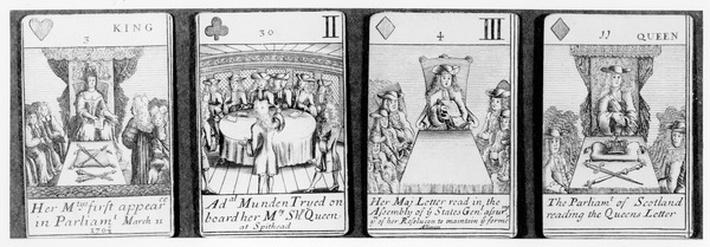 Playing cards depicting events early on in the reign of Queen Anne, from a set commemorating the War of the Spanish Succession