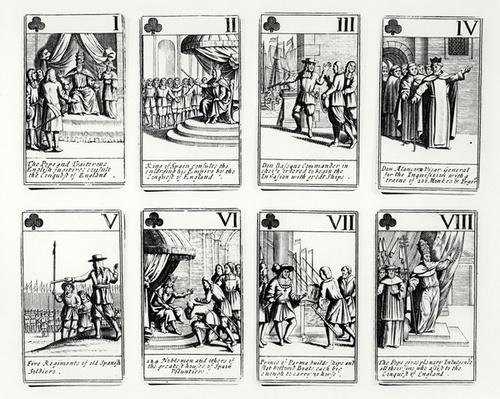 Playing cards depicting events from the Spanish Armada