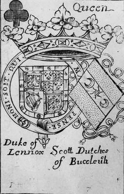 Queen of Spades playing card depicting the coat of arms of the Duke of Lennox and the Duchess of Buccleuch