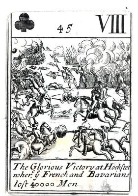Playing card depicting the Glorious Victory at the Battle of Hochstadt where the French and Bavarians Lost 40,000 Men