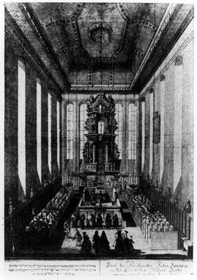 Purim Celebration in a Berlin Synagogue, published by Kirschner Judisches Lexicon