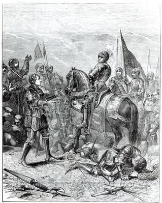 Battle of Bosworth Field: Lord Stanley bringing the Crown of Richard III