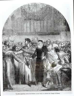 Wycliffe appearing before the Prelates at St. Paul's to answer the charge of heresy in 1377