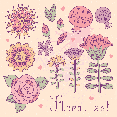 Set of Floral Elements | Clipart