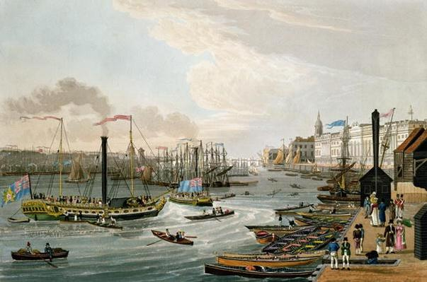 A View of London Bridge and the Custom House, with the Margate Steam Yachts, pub. 1820 by Colnaghi & Co.