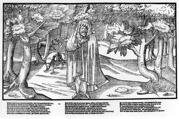 Rorie Oge, a wild kerne and defeated rebel, in the forest with wolves for company, plate 11 from 'The Image of Ireland' by John Derricke, 1581