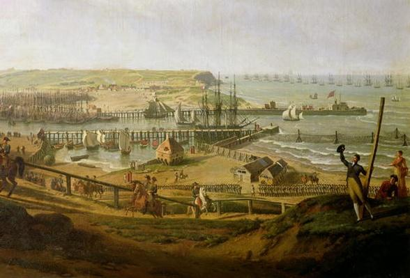 Napoleon Visiting the Camp at Boulogne in July 1804, detail of the port, 1806