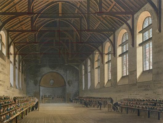 Westminster School Room, from 'History of Westminster School', part of 'History of the Colleges', engraved by Joseph Constantine Stadler