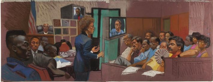 Artist's Rendering of the Trial | Ken Burns: The Central Park Five