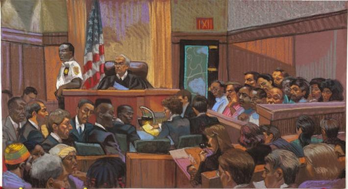 Drawing of Courtroom Scene from the Central Park Five Trial | Ken Burns: The Central Park Five