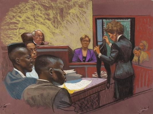 Artist Depiction of the Trial | Ken Burns: The Central Park Five