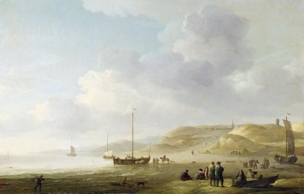 The Coast Near Scheveningen with Fishing Pinks on the Shore