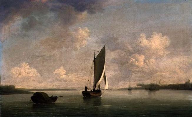A Smack Under Sail in a Light Breeze in a River, c.1756-9