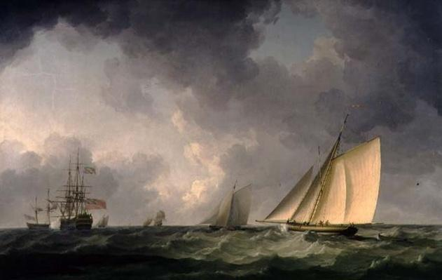 Cutter Close Hauled in a Fresh Breeze, with Other Shipping, c.1750