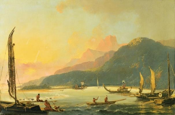 Tahitian War Galleys in Matavai Bay, Tahiti, 1766