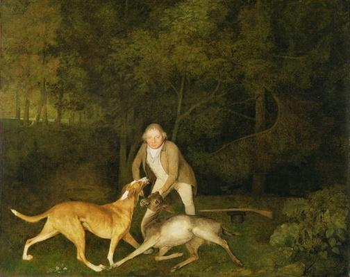 Freeman, the Earl of Clarendon's Gamekeeper, With a Dying Doe and Hound, 1800