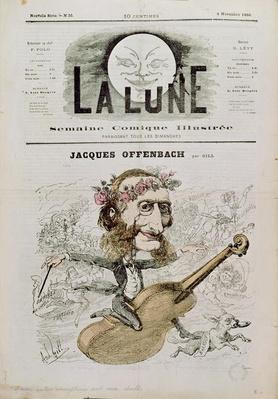 Front cover of 'La Lune', with a caricature of Jacques Offenbach