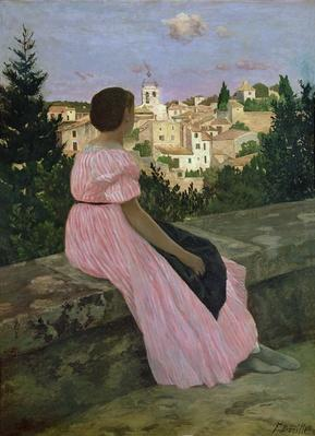 The Pink Dress, or View of Castelnau-le-Lez, Herault, 1864