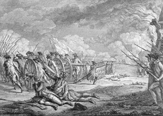 Battle of Lexington, April 19th 1775, from 'Recueil d'Estampes' by Nicholas Ponce, engraved by the artist