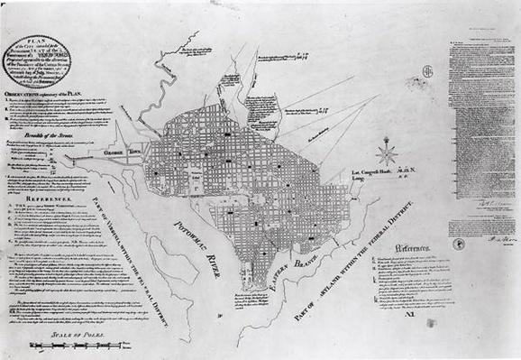 Plan of Washington D.C., pub. in 'Gazette of the United States', Philadelphia, January 4th 1792