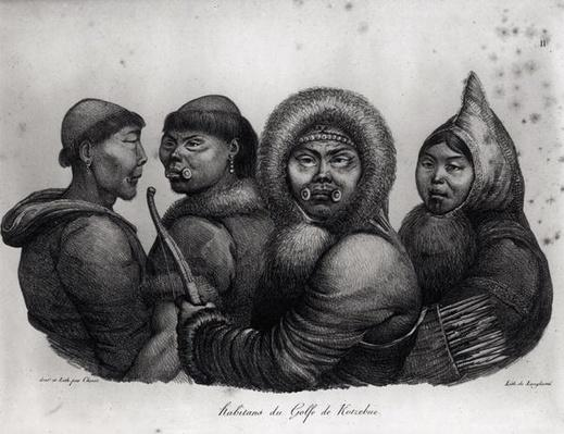 Inhabitants of the Gulf of Kotzebue, from 'Voyage Pittoresque autour du Monde', engraved by Langlume