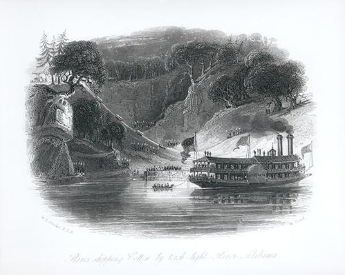 Slaves Shipping Cotton by Torch-Light, River Alambama, from 'Buckingham's Slave States of America', engraved by W. Floyd, 1842