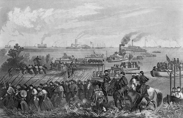 Landing of troops on Roanoke Island, Burnside Expedition, 8th February 1862, engraved by George E. Perine