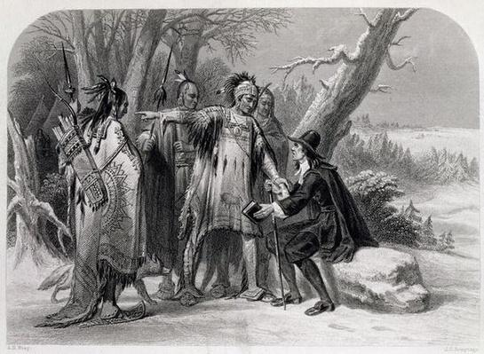 Roger Williams sheltered by the Narragansetts, 1636, from 'The History of the United States', Vol. I, by Charles Mackay, engraved by James Charles Armytage
