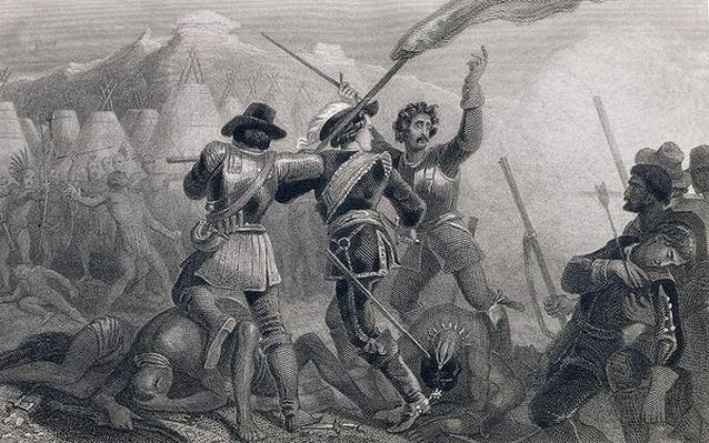 The Pequod War, 1636, from 'The History of the United States', Vol. I, by Charles Mackay, engraved by James Charles Armytage