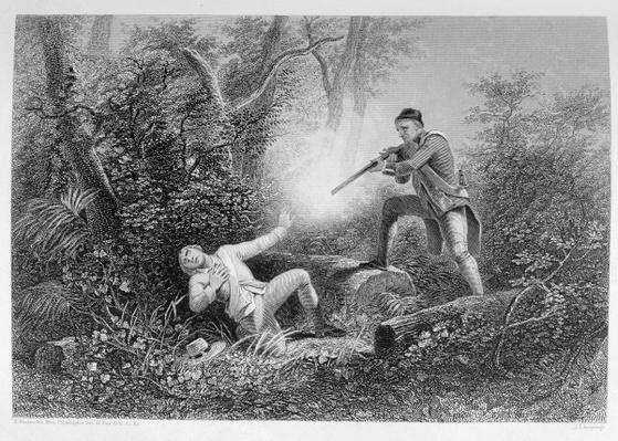 The Fratricide at Wyoming, 1778, from 'The History of the United States', Vol. I, by Charles Mackay, engraved by James Charles Armytage