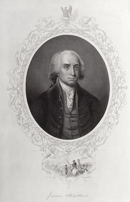 James Madison, from 'The History of the United States', Vol. I, by Charles Mackay, engraved by C. Cook (engraving) by American School, (19th century)