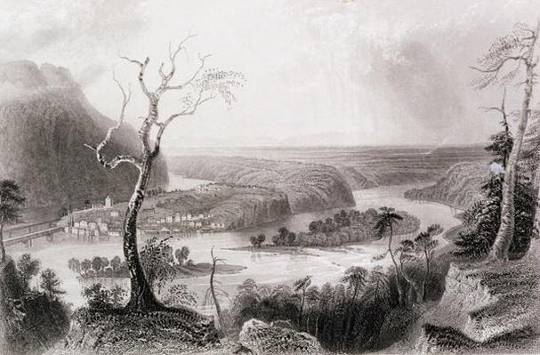 Harper's Ferry, West Virginia, from 'The History of the United States', Vol. II, by Charles Mackay, engraved by G. Mills