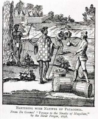 Spaniard Bartering with Natives of Patagonia, from de Gennes' 'Voyage to the Straits of Magellan', by the Sieur Froger, 1698, from 'The Romance of the River Plate', Vol. I, by W. H. Koebel, 1914