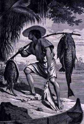 One of our Mojo Indians returning from fishing, from 'The Amazon and Madeira Rivers', by Franz Keller, engraved by A. Closs, 1874