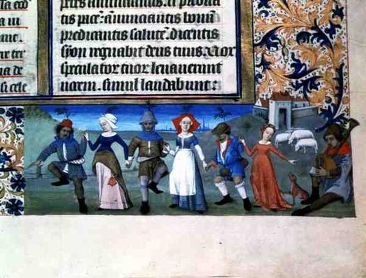 Lat 873 f.21 Dance of the shepherds, from the Hours of Charles of Angouleme