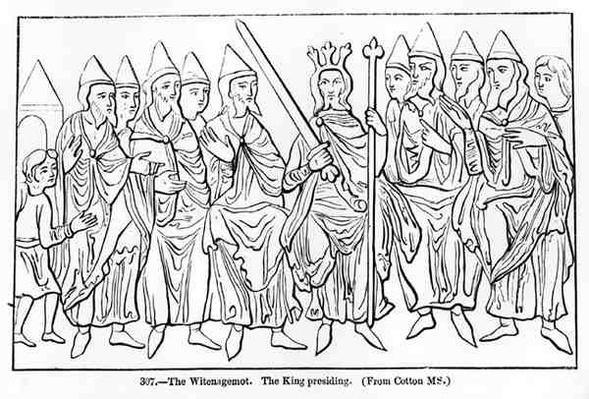 The Witenagemot with the King presiding, from a manuscript