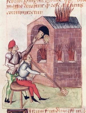 Ms Lat 993 L.9.28 f.138r Glass blowers, from 'Tractatus de Herbis' by Dioscorides
