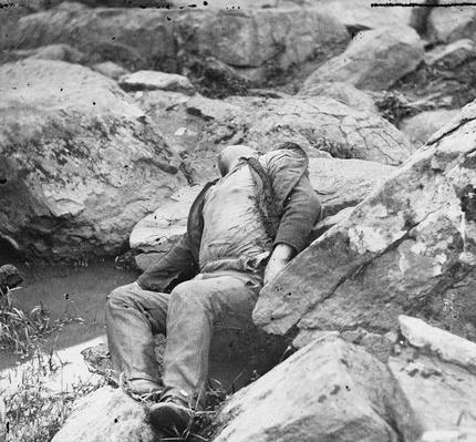 Dead Confederate Sharpshooter at the Foot of Round Top, 1863 | Ken Burns: The Civil War