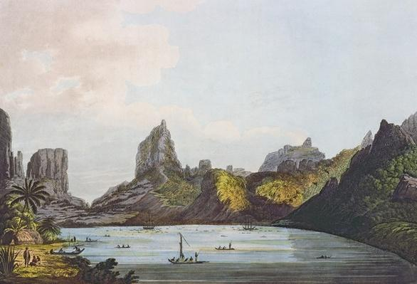 View of the Harbour of Taloo in the Island of Eimeo, from 'Views in the South Seas', pub. 1789