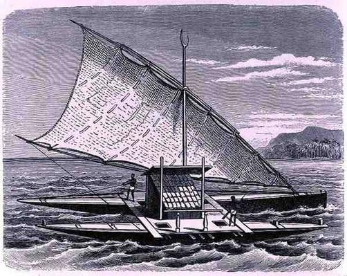 Fijian double canoe, from 'The History of Mankind', Vol.1, by Prof. Friedrich Ratzel, 1896