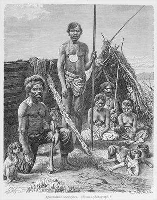Queensland aborigines, engraved from a photograph by E. Krell, from 'The History of Mankind', Vol.1, by Prof. Friedrich Ratzel, 1896