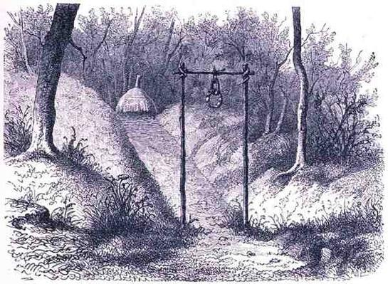 Entrance to a fetish hut in Lunda, from 'The History of Mankind', Vol.1, by Prof. Friedrich Ratzel, 1896